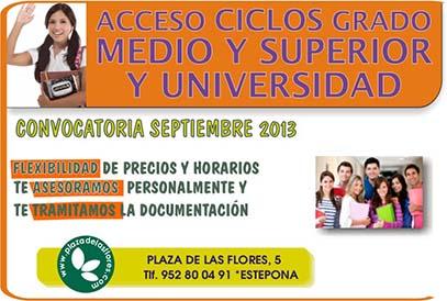 acceso Ciclos Grado Medio Superior y Universidad Convocatoria Septiembre 2013